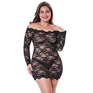 Lencería negra encaje vestido